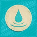 Vector water drop button old paper Stock Photos