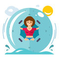 Vector Water Zorbing Concept. Flat style colorful Cartoon illustration.