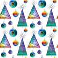 Vector watercolor balls and christmas tree seamless pattern With hand drawn elementss. Can be used for web pages