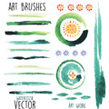 Vector watercolor  brushes and floral elements Royalty Free Stock Photo