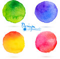 Vector watercolor circle splashes set four colorful Royalty Free Stock Images