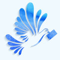 Vector watercolor dove with mail on light blue background.