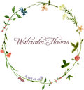 Vector watercolor floral frame Royalty Free Stock Photo