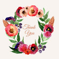 Vector watercolor floral wreath set with vintage leaves and flowers. Artistic  design for banners, greeting cards,sales, pos Royalty Free Stock Photo