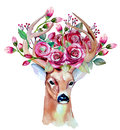 Vector watercolor hand drawn floral set with deer Royalty Free Stock Photo