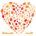 Vector watercolor hand drawn wreath with flowers and heart diff different shades of orange pink Stock Photos