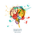 Vector watercolor illustration of brain and light bulb. Abstract watercolor background with human brain and bulb. Royalty Free Stock Photo