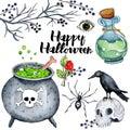 Vector watercolor illustration for Happy Halloween 4