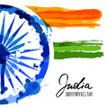 Vector watercolor illustration of India flag and hand drawn calligraphy. Royalty Free Stock Photo