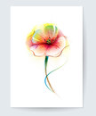 Vector watercolor painting poppy flower. Red poppy flower background for greeting card Royalty Free Stock Photo