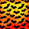 Vector watercolor pattern with bats, halloween background. (only layer with bats is seamless). Seamless Halloween background. Royalty Free Stock Photo