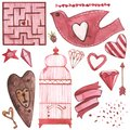 Vector Watercolor pink set of elements for Valentine`s day. Scrapbook design elements. Typography poster, card, label Royalty Free Stock Photo