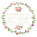 Vector watercolor round frame with roses and foliage elements. Hand draw floral border Royalty Free Stock Photo