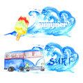 Vector watercolor summer surf set of banners with