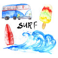 Vector watercolor summer surf set with bus and
