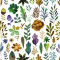 Vector watercolor texture with flowers and plants. Floral ornament. Original flowers