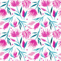 Vector watercolour floral seamless pattern, delicate flowers, green, turquoise and pink flowers