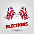 Vector waving triangle two crossed british flags on slanted silver pole with red title elections - united kingdom
