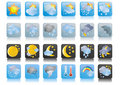 Vector-weather-blue-icons Stock Photography