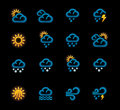 Vector weather forecast icons. Part 1 Stock Images