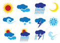 Vector weather icons with colors illustrations of for different weathers Royalty Free Stock Photo