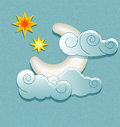 Vector weather icons in retro style moon behind the clouds and stars Stock Photos