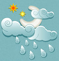 Vector weather icons in retro style moon in the clouds with stars and raindrops Royalty Free Stock Photos