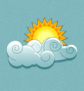 Vector weather icons in retro style sun behind the clouds Stock Images