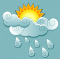 Vector weather icons in retro style sun behind the clouds and rain drops Stock Photo