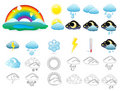 Vector weather icons set Stock Images