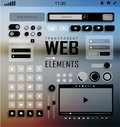 Vector web elements buttons and labels site navigation plat transparent mobile icons blur background Stock Image