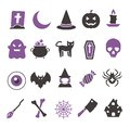 Vector web icon set for creating graphics related to Halloween, including witch, bat, spider web, ghost, candy, eyeball, skull and