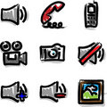 Vector web icons marker contour media Stock Photography