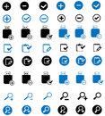 Vector web icons set, external drive, computer related symbols black and blue, internet icons Royalty Free Stock Photo