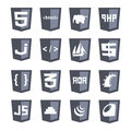 Vector web shields icon set grey variant html css php scripts tags brackets isolated flat design illustration on white background Royalty Free Stock Photos