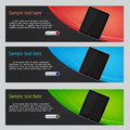 Vector website headers, tablet promotion banners Royalty Free Stock Images