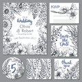 Vector wedding collection. Templates for invitation, thank you card, save the date, RSVP