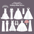 Vector wedding dresses in different styles. Fashion bride Dress. White dress, accessories set. Royalty Free Stock Photo