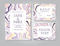 Vector Wedding invitation card suite with ink marble style texture.