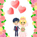 Vector wedding invitation with cute cartoon bride and groom in the frame of roses Stock Image