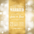 Vector wedding invitation retro typography with lights Royalty Free Stock Photo