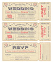 Vector wedding invite tickets hi detail grunge for invitations and save the date each ticket is on different layers with text Royalty Free Stock Images