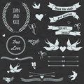 Vector wedding set with birds, hearts, arrows, ribbons, wreaths