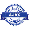 Vector  of WELCOME TO City AJAX Country CANADA. Stamp.  Sticker. Grunge Style. EPS8 . Royalty Free Stock Photo