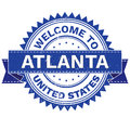 Vector  of WELCOME TO City ATLANTA Country UNITED STATES. Stamp.  Sticker. Grunge Style. EPS8 . Royalty Free Stock Photo