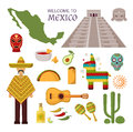 Vector welcome to mexico america guitar set, cactus design icons. Royalty Free Stock Photo