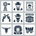Vector western icons set windmill sheriff wanted poster revolvers bandit saloon longhorn skull indian chief prairie schooner Royalty Free Stock Photo