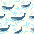 Vector whale illustration. Swimming cute whales seamless background for print or web. Whales pattern Royalty Free Stock Photo