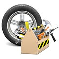 Vector wheel with toolbox on white background Royalty Free Stock Image