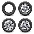 Vector wheels on white background Royalty Free Stock Photo
